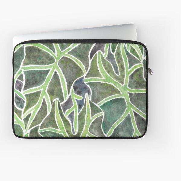 Watercolor Alocasia Leaf Pattern Laptop Sleeve