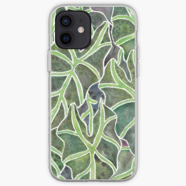 Watercolor Alocasia Leaf Pattern iPhone Soft Case