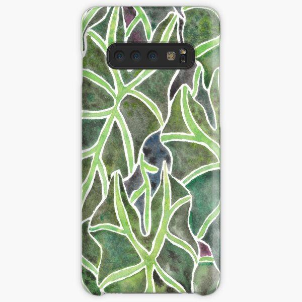 Watercolor Alocasia Leaf Pattern Samsung Galaxy Snap Case