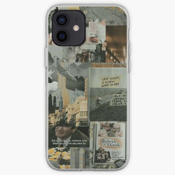 grey and yellow aesthetic grunge teen phone case wallet quote tumblr sticker iPhone Soft Case
