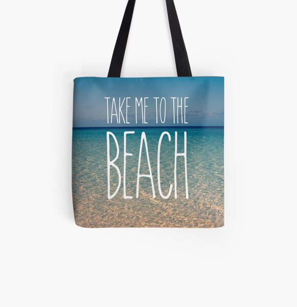 Take Me to the Beach Ocean Summer Blue Sky Sand All Over Print Tote Bag