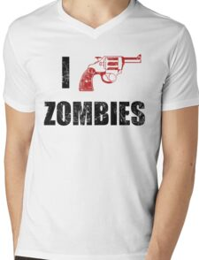 I Shotgun Zombies/ I Heart Zombies  Mens V-Neck T-Shirt