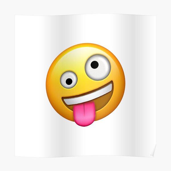 Emoji loco de cara estúpida Póster