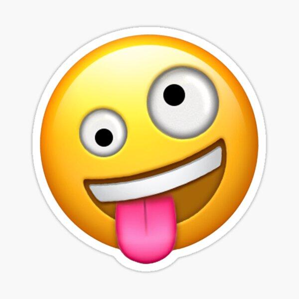 Emoji loco de cara estúpida Pegatina
