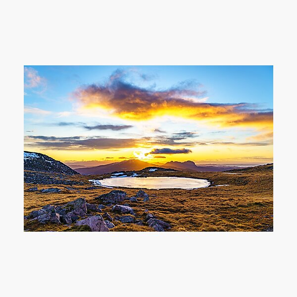 Afternoon Glow, Glas Bheinn Summit Plateau, Assynt Photographic Print