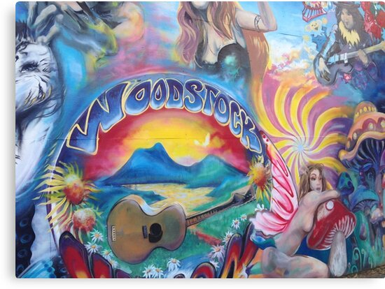 woodstock hippie paintings canvas prints by veronicabadley redbubble
