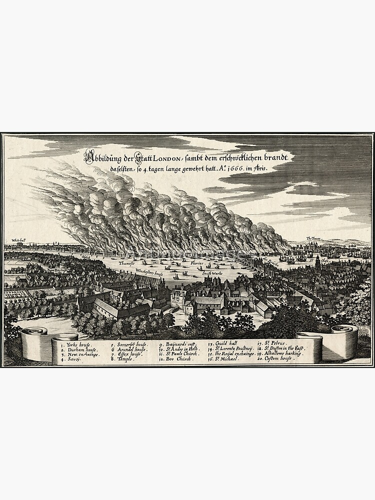 Great Fire of London 1666 Engraving by AntiqueImages
