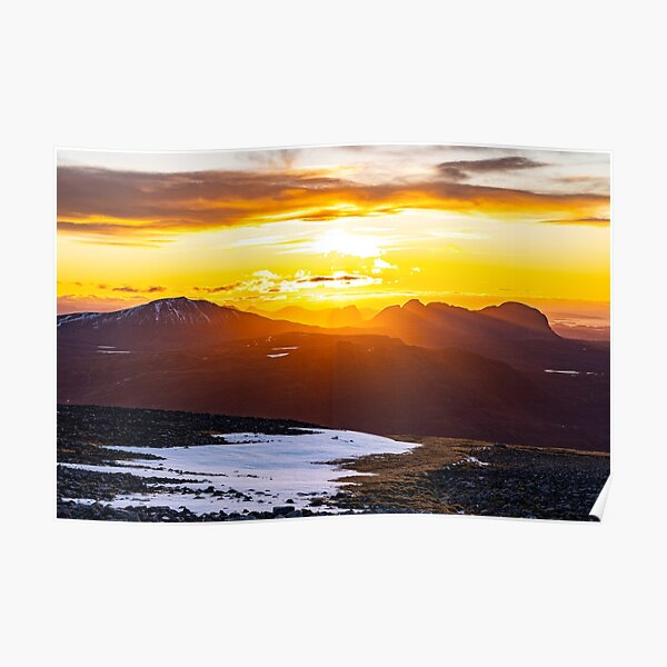 Assynt Setting Sun, Canisp, Stac Pollaidh and Suilven Poster