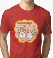 The player's hands. Tri-blend T-Shirt