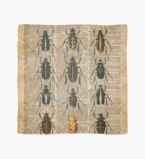 Beetles & Bugs,Insect Chart,Biological Illustration on Vintage Dictionary Book Page Background Scarf