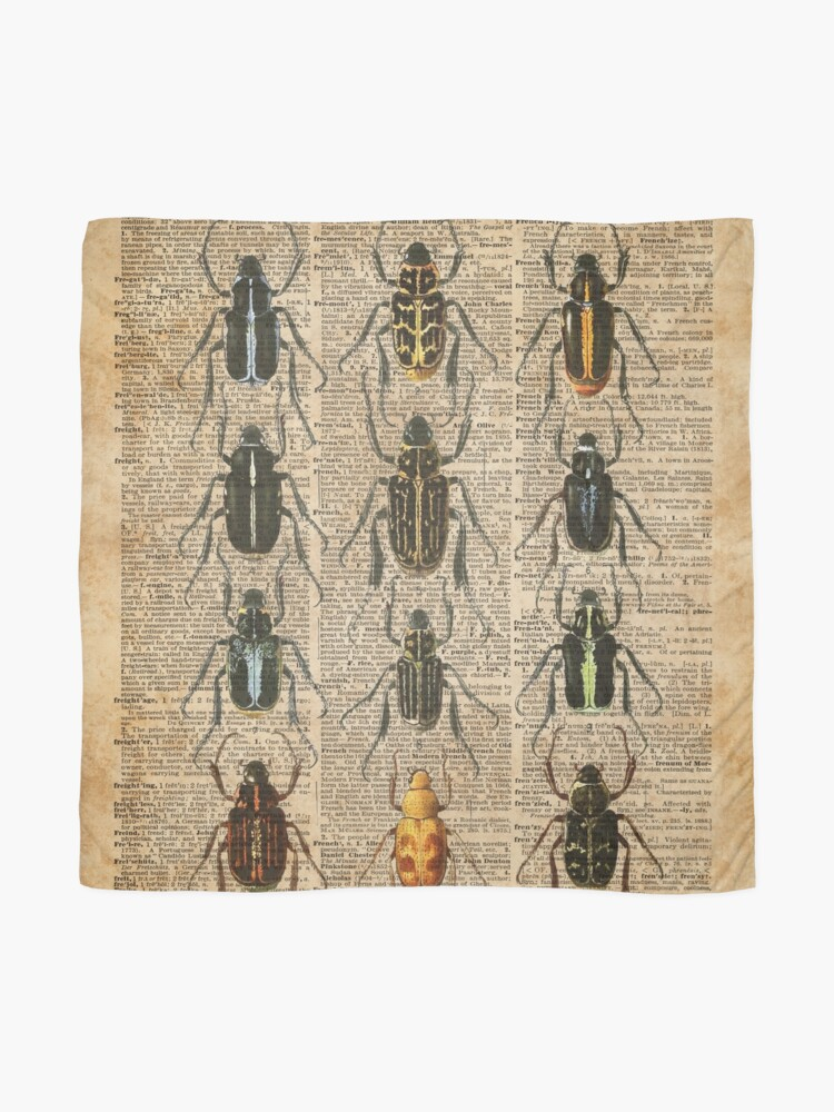 Alternate view of Beetles & Bugs,Insect Chart,Biological Illustration on Vintage Dictionary Book Page Background Scarf