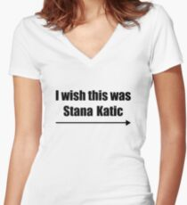 'I wish this was Stana Katic →' BLACK Women's Fitted V-Neck T-Shirt