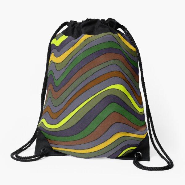 Psychedelic rainbow brown Drawstring Bag