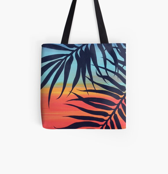 Palm Tree at Vibrant Colorful Blue & Red Sunset Painting All Over Print Tote Bag