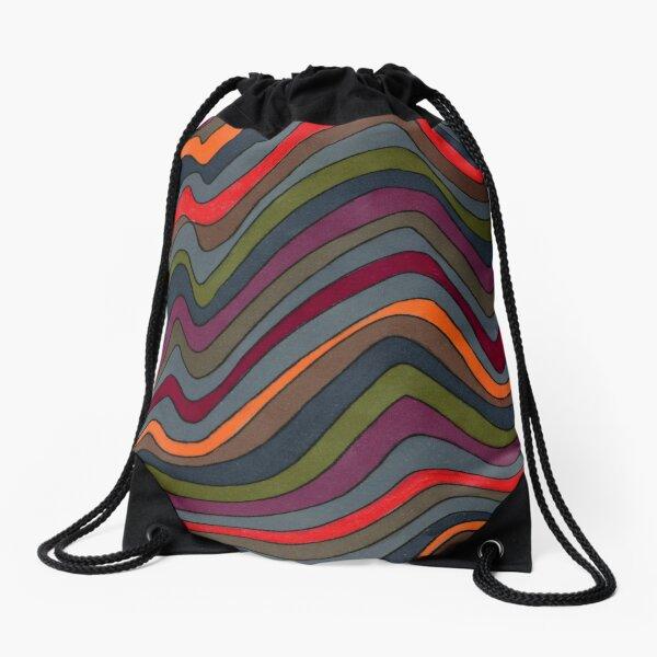 Psychedelic rainbow orange Drawstring Bag