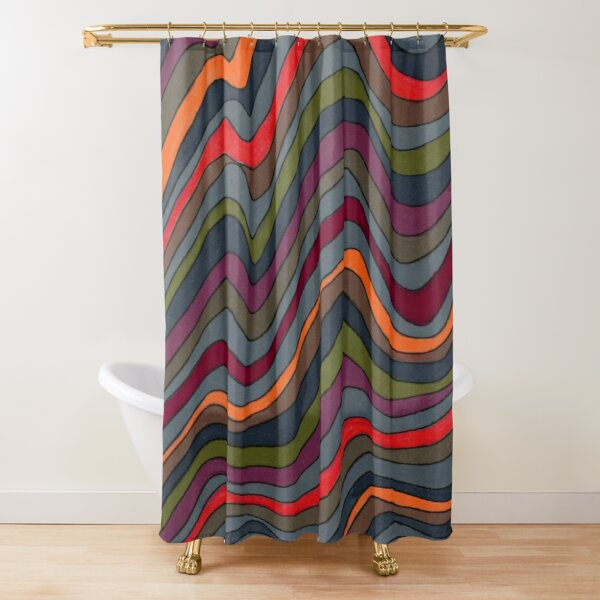 Psychedelic rainbow orange Shower Curtain