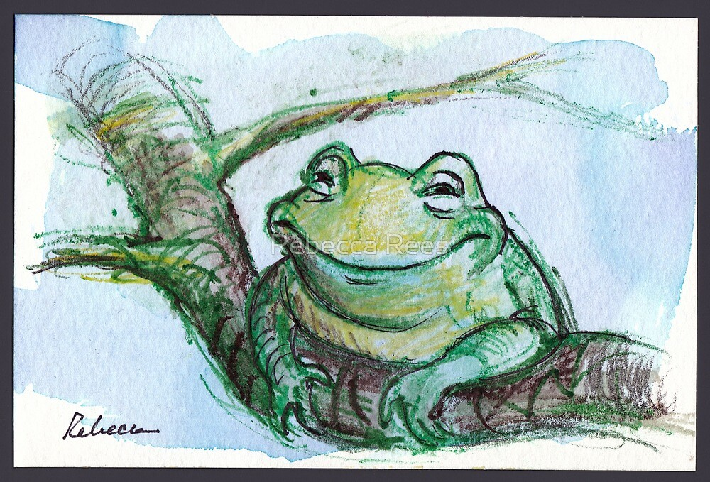 """Life is Good"" - frog is very happy by Rebecca Rees"
