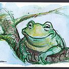 """""""Life is Good"""" - frog is very happy by Rebecca Rees"""