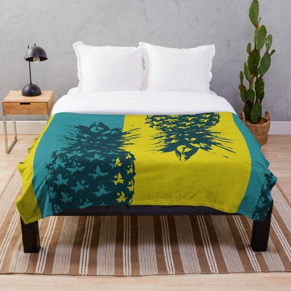 Beachy Pineapple Pop Art | Summer Vibes Throw Blanket