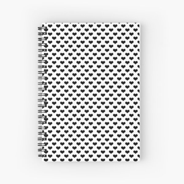 black hearts pattern white background Spiral Notebook