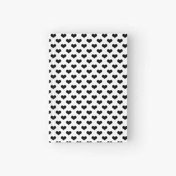 black hearts pattern white background Hardcover Journal