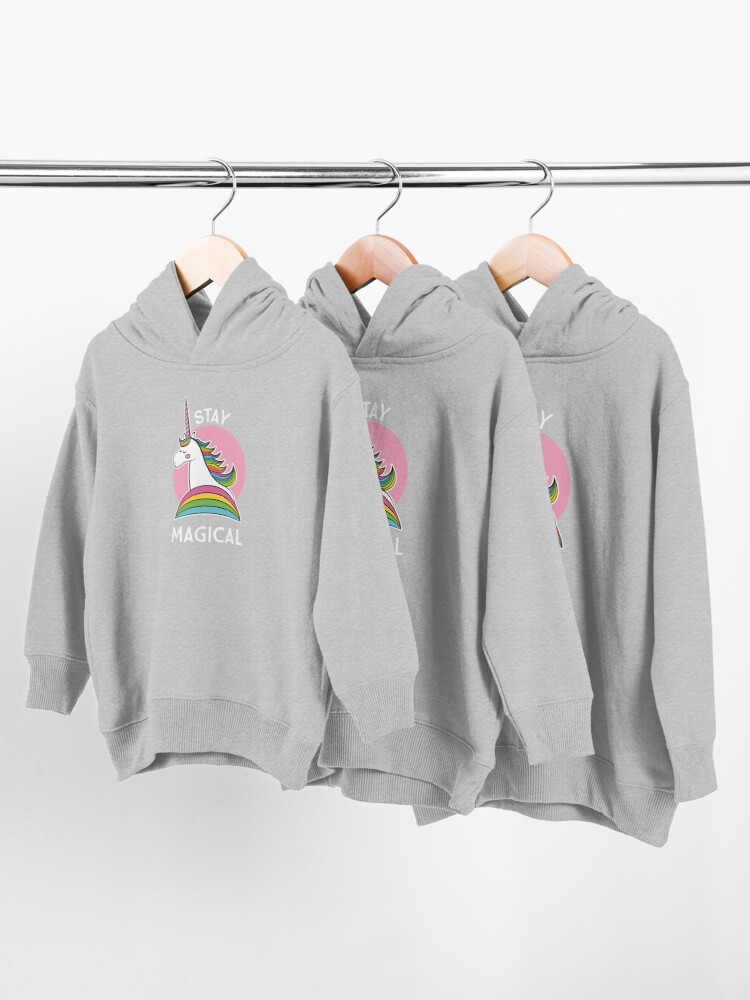 Alternate view of Rainbow Unicorn - Stay Magical Toddler Pullover Hoodie
