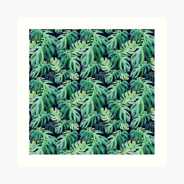 Tropical leaves watercolor Art Print