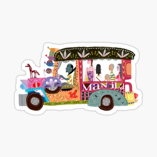 The iconic Philippine jeepney illustrated by Robert Alejandro Sticker