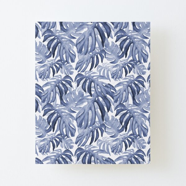 Tropical leaves blue grey palette Canvas Mounted Print