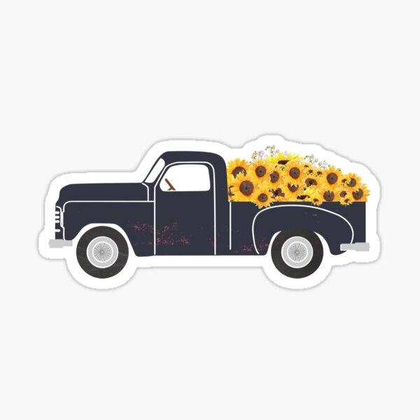 Vintage Truck with Sunflowers Sticker