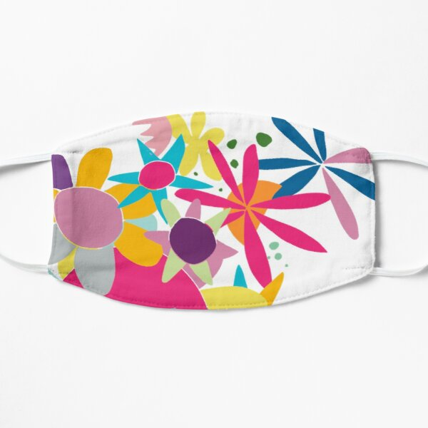 Pretty colourful and cheerful flower pattern Flat Mask