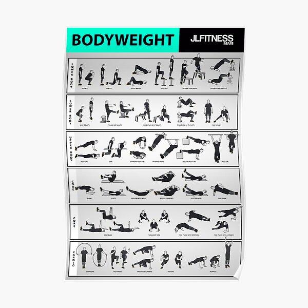 garaje gimnasio o gimnasio de la escuela. Los pósters son creados por un entrenador físico real (yo). Ideal para personas que olvidan los nombres de los ejercicios. Póster