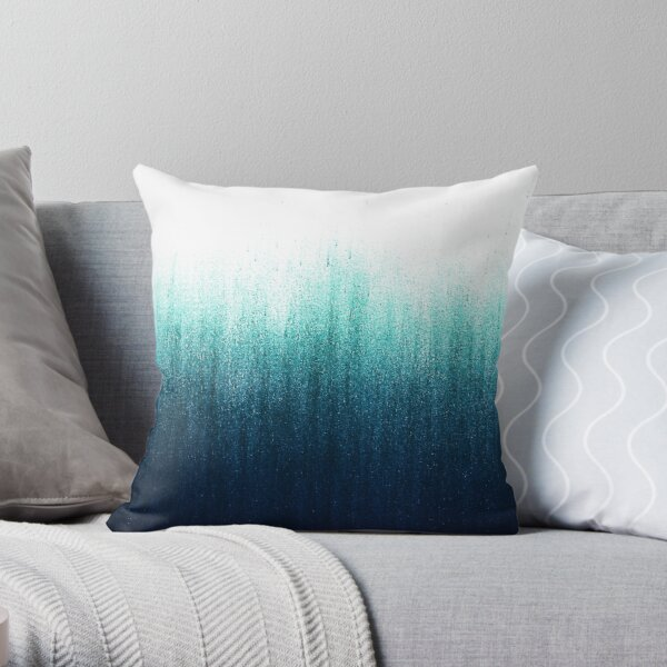 Teal Ombre  Throw Pillow