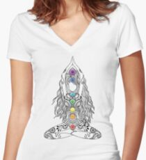 Yoga Om Chakras Mindfulness Meditation Zen 1 Women's Fitted V-Neck T-Shirt