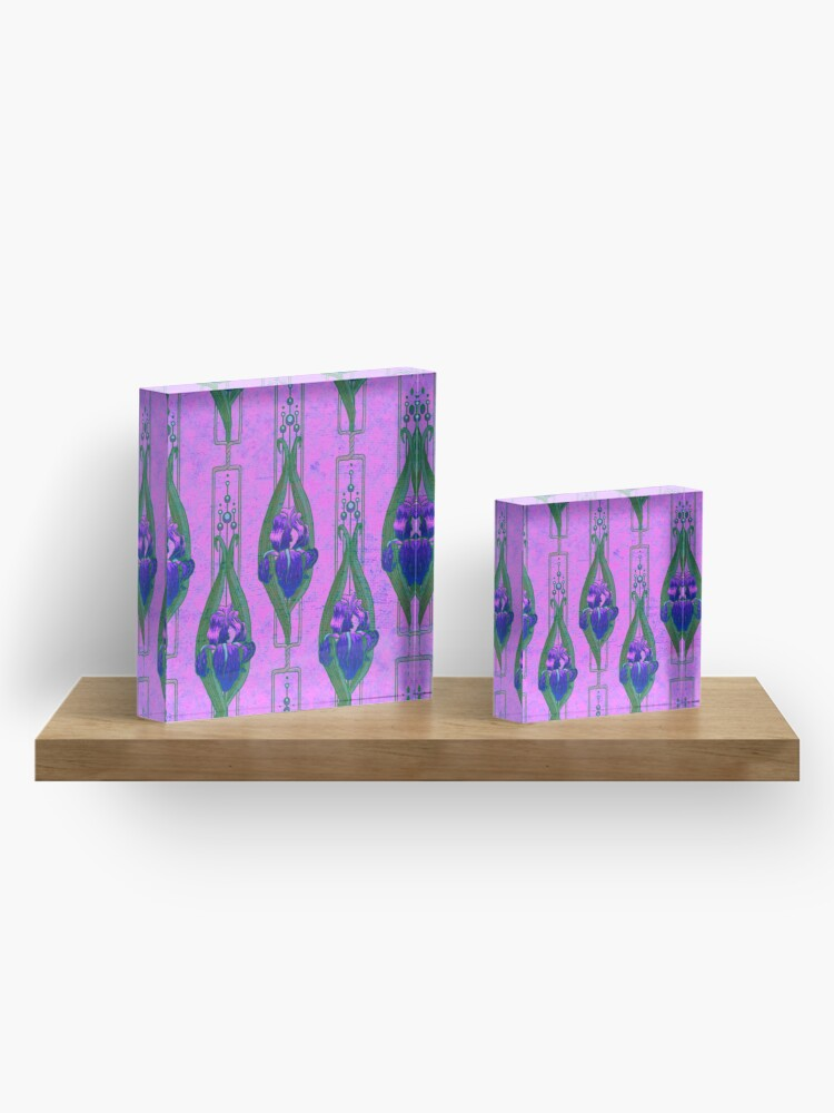 Alternate view of Art Nouveau Irises in Purple and Pink Acrylic Block