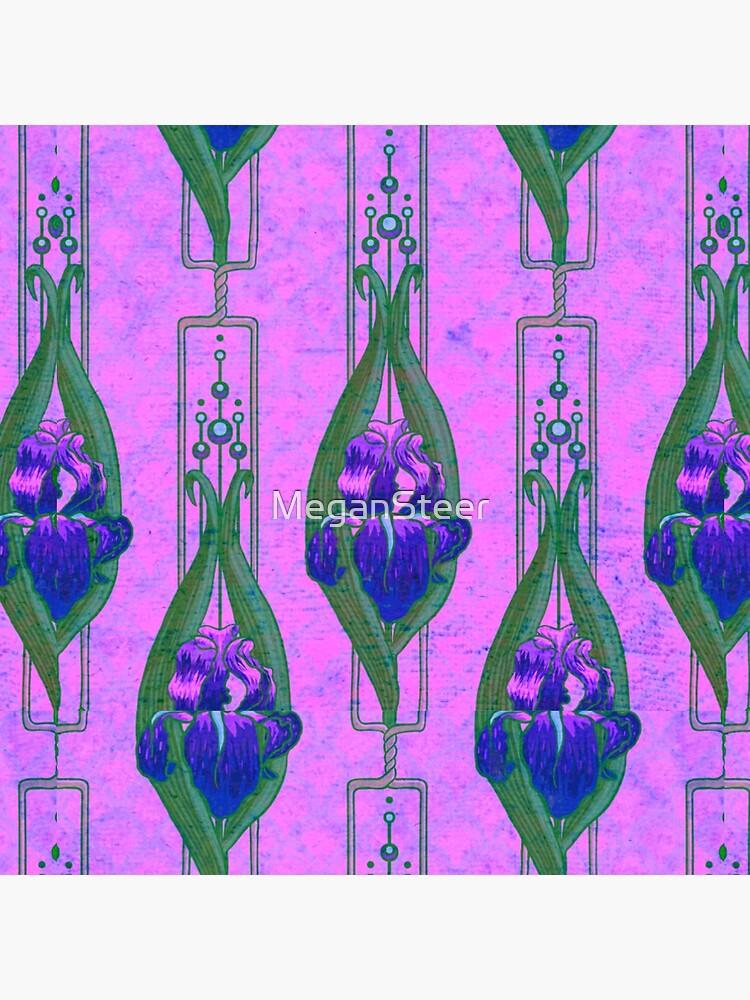 Art Nouveau Irises in Purple and Pink by MeganSteer
