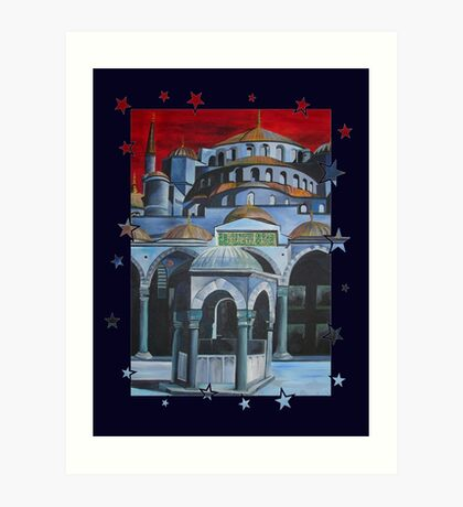 Sultan Ahmed Blue Mosque in Istanbul, Turkey Art Print