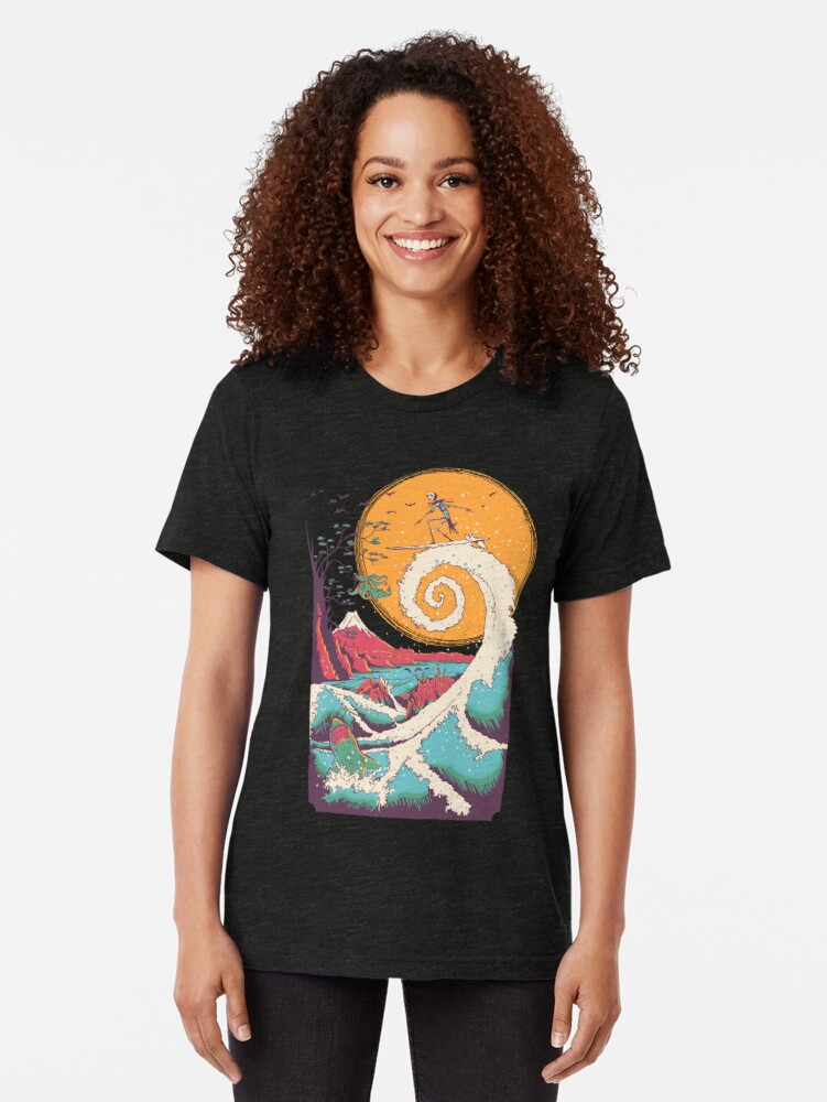 Alternate view of Surf Before Christmas Tri-blend T-Shirt