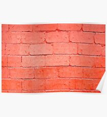 Red background of bricks with a layer of paint closeup Poster