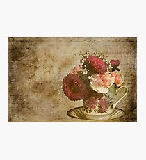 Vintage Cup of Flowers Photographic Print