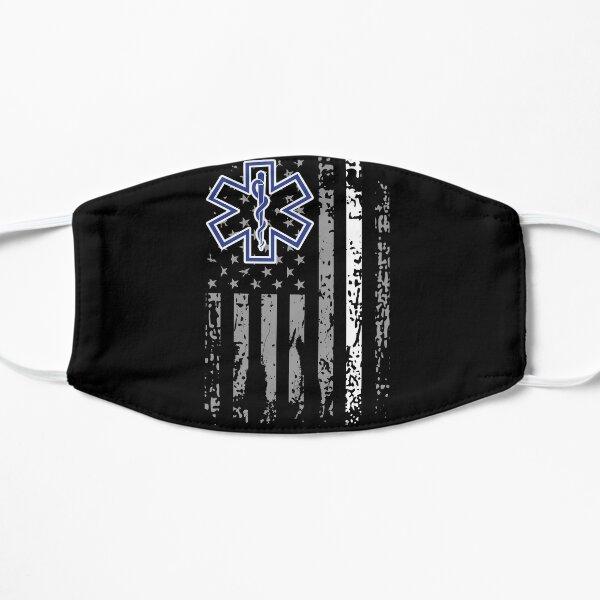 Thin White Line EMS EMT Paramedic American Flag Gift Flat Mask