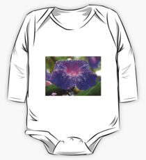 Morning Glory (Ipomoea Purpurea) Petals and Dew Drops  One Piece - Long Sleeve