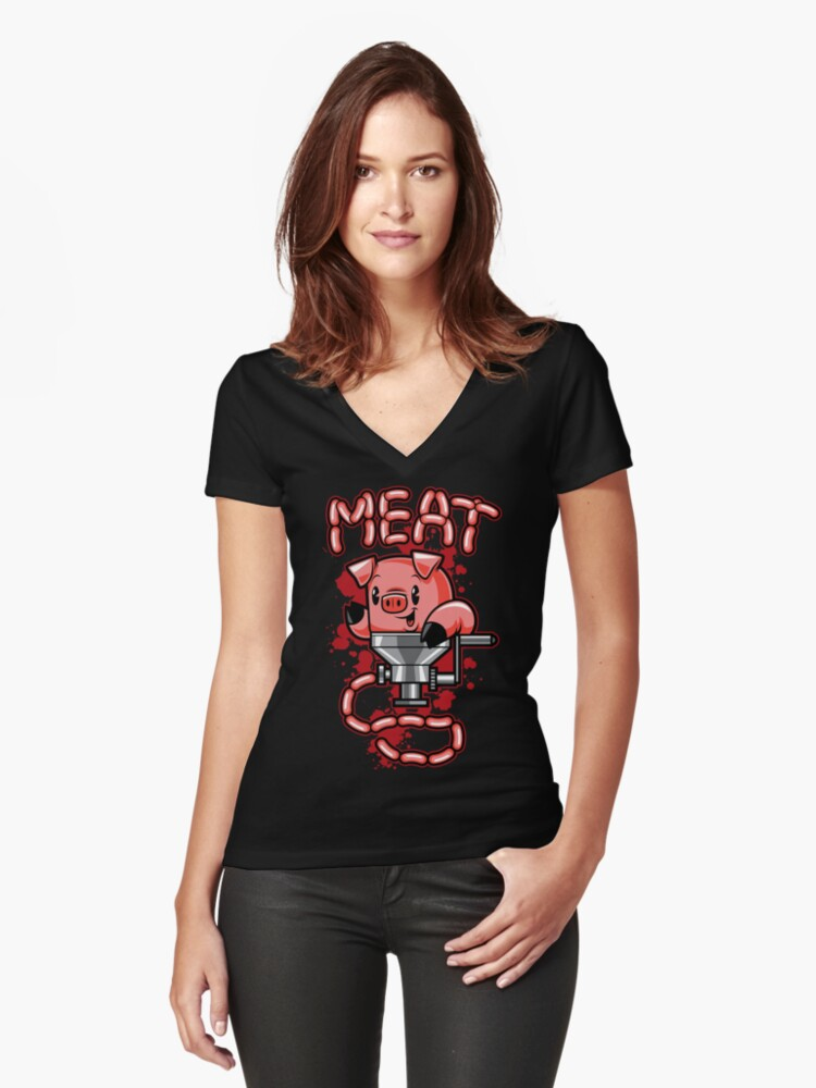 Nice to Meat You! Women's Fitted V-Neck T-Shirt Front