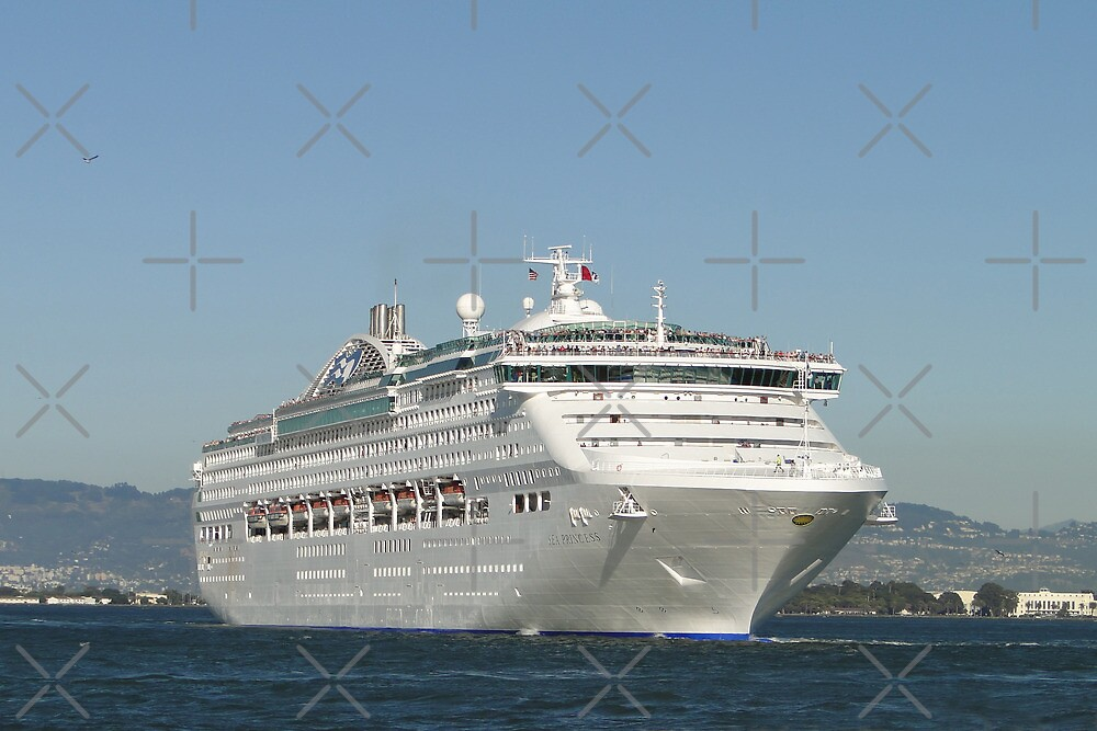 Sea Princess Departs by Barrie Woodward