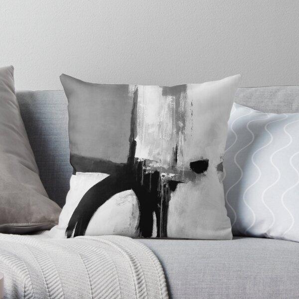 Black white grey abstract  Throw Pillow