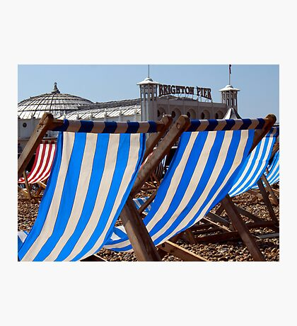 The Blue & White Stripes of Brighton Photographic Print