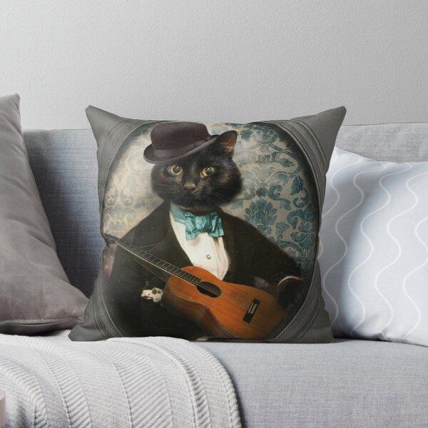 Black Cat Guitarist - Felix Fitzpatrick Throw Pillow