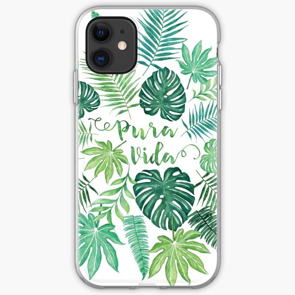 Tropical Pura Vida Palm Leaves and Monstera Watercolor iPhone Soft Case