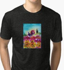 SUNFLOWERS, POPPIES AND BLACK ROOSTER IN BLUE SKY Tri-blend T-Shirt