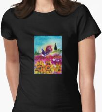 SUNFLOWERS, POPPIES AND BLACK ROOSTER IN BLUE SKY Women's Fitted T-Shirt